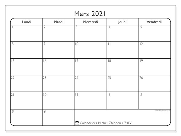 Calendriers mars 2021 (DS).  74DS.