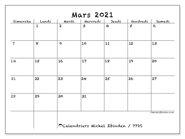 Calendriers mars 2021 (DS).  77DS.