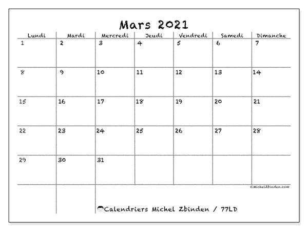 Calendriers mars 2021, 77