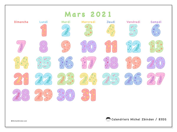 Calendriers mars 2021 (DS).  83DS.