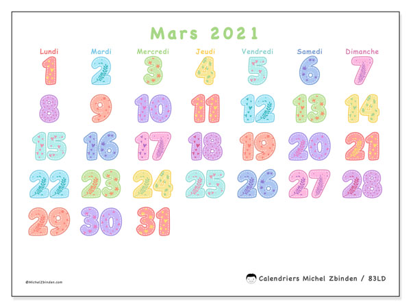 Calendriers mars 2021, 83