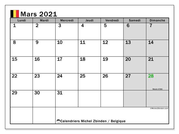 "Calendrier ""Belgique"" mars 2021 à imprimer   Michel Zbinden FR"