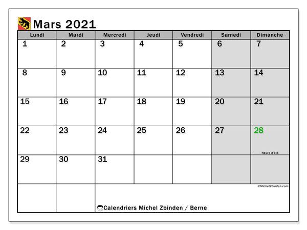 Calendrier mars 2021, avec les jours fériés du Canton de Berne. Calendrier Fêtes et jours fériés à imprimer gratuit.