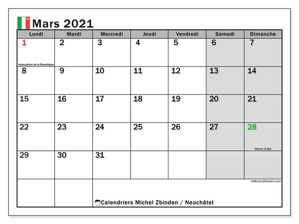 Calendrier mars 2021, avec les jours fériés du Canton de Neuchâtel. Calendrier Fêtes et jours fériés à imprimer gratuit.