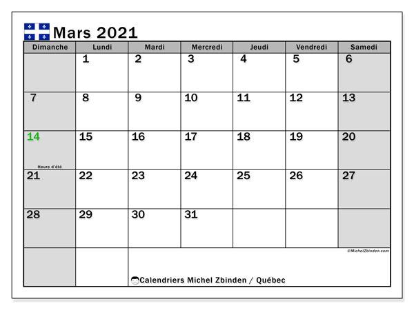 """Calendrier Mars 2021 Calendrier """"Québec"""" mars 2021 à imprimer   Michel Zbinden FR"""