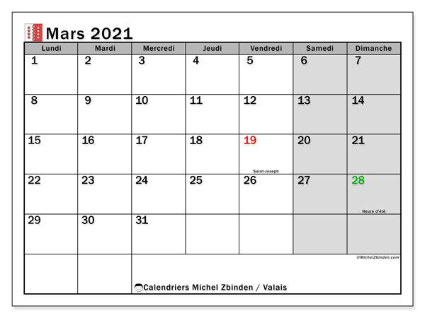 Calendrier mars 2021, avec les jours fériés du Canton du Valais. Calendrier Fêtes et jours fériés à imprimer gratuit.