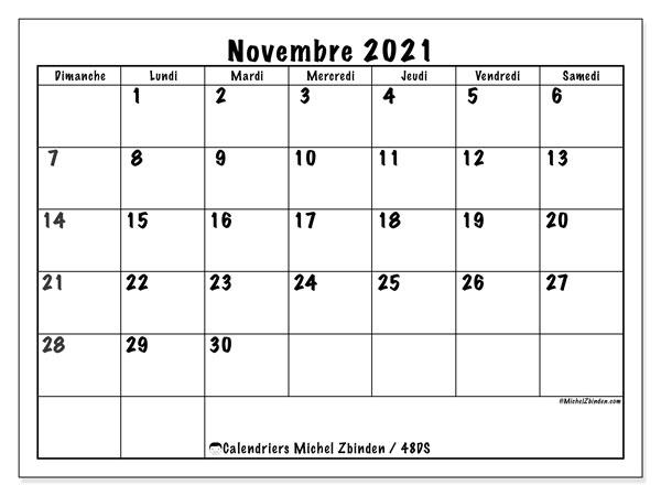 Calendrier novembre 2021, 48DS. Calendrier imprimable gratuit.