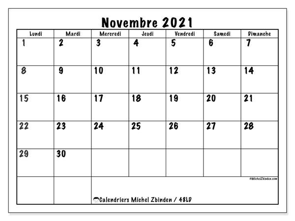 """Calendrier Novembre 2021 à Imprimer Calendrier """"48LD"""" novembre 2021 à imprimer   Michel Zbinden FR"""