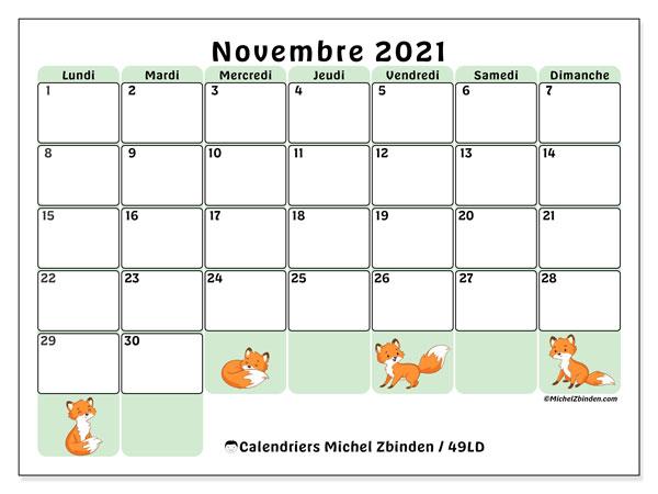 Calendrier novembre 2021, 49LD. Calendrier gratuit à imprimer.