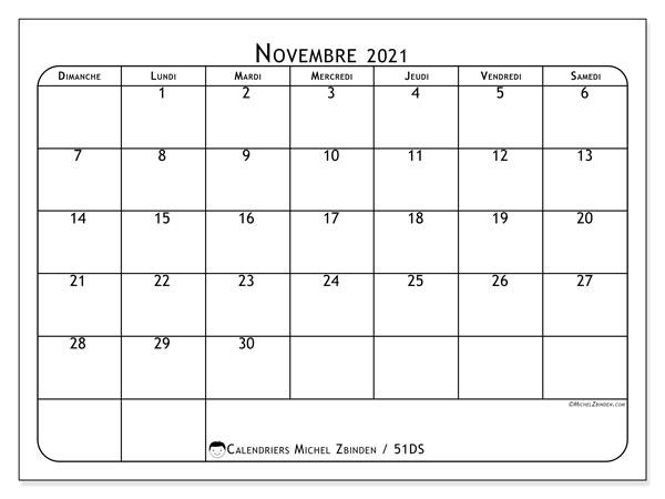 Calendrier novembre 2021, 51DS. Calendrier mensuel à imprimer gratuit.