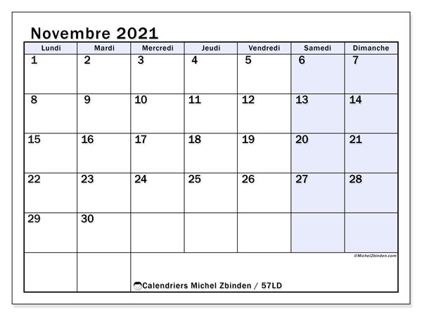 Calendrier novembre 2021, 57LD. Calendrier imprimable gratuit.