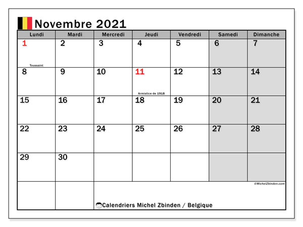 "Calendrier Novembre 2021 à Imprimer Calendrier ""Belgique"" novembre 2021 à imprimer   Michel Zbinden FR"