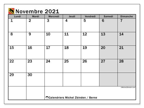 Calendrier novembre 2021, avec les jours fériés du Canton de Berne. Calendrier Fêtes et jours fériés à imprimer gratuit.