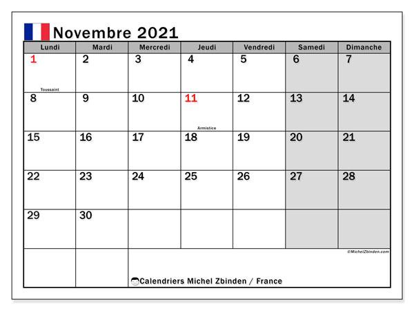 """Calendrier Novembre 2021 Calendrier """"France"""" novembre 2021 à imprimer   Michel Zbinden FR"""