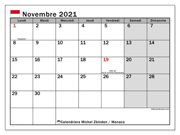 Calendrier novembre 2021, avec les jours fériés de Monaco. Calendrier à imprimer gratuit avec jours fériés.