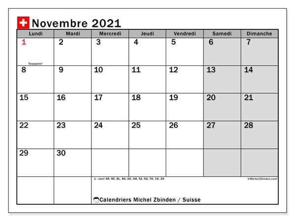 Calendrier novembre 2021, avec les jours fériés de la Suisse. Calendrier Fêtes et jours fériés à imprimer gratuit.