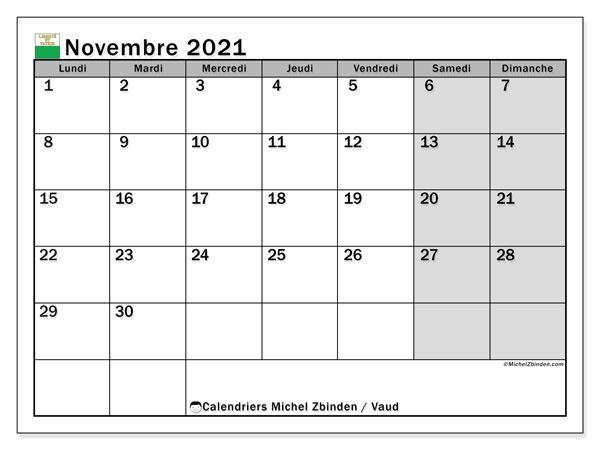 Calendrier novembre 2021, avec les jours fériés du Canton de Vaud. Calendrier Fêtes et jours fériés à imprimer gratuit.