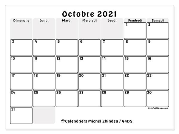 Calendrier octobre 2021, 44DS. Calendrier gratuit à imprimer.