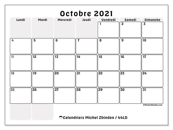 Calendrier octobre 2021, 44LD. Organisateur à imprimer gratuit.