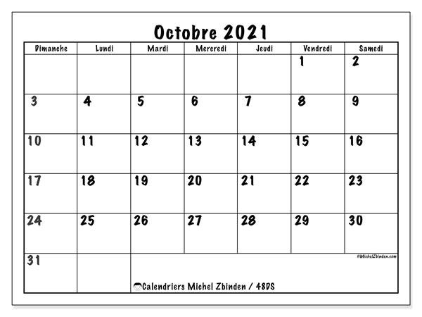 """Calendrier Octobre 2021 à Imprimer Calendrier """"48DS"""" octobre 2021 à imprimer   Michel Zbinden FR"""