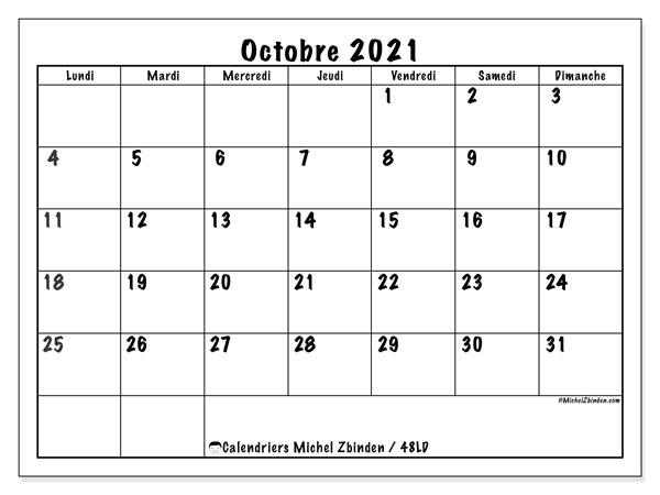 """Calendrier 2021 Octobre Calendrier """"48LD"""" octobre 2021 à imprimer   Michel Zbinden FR"""
