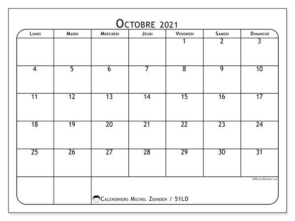 Calendrier octobre 2021, 51LD. Planificateur à imprimer gratuit.