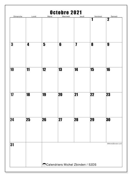 Calendrier octobre 2021, 52DS. Calendrier à imprimer gratuit.