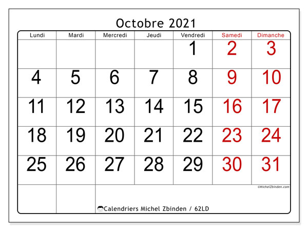 Calendrier octobre 2021, 62LD. Calendrier à imprimer gratuit.