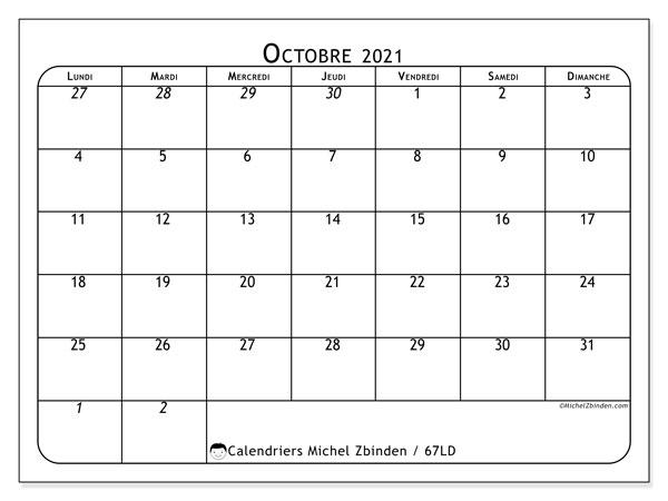 Calendrier octobre 2021, 67LD. Calendrier pour le mois à imprimer gratuit.