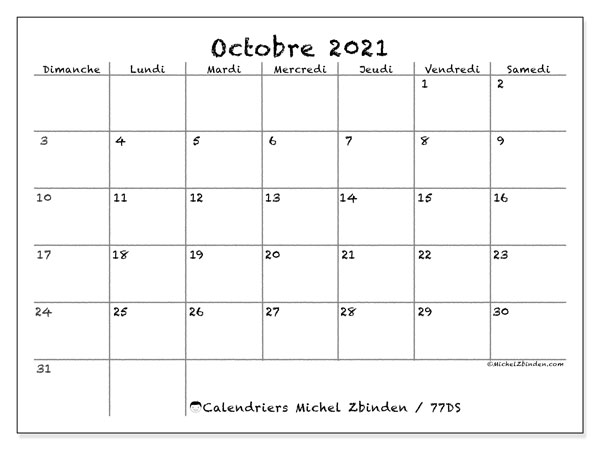 "Calendrier ""77DS"" octobre 2021 à imprimer   Michel Zbinden FR"