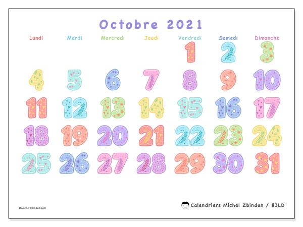 Calendrier octobre 2021, 83LD. Organisateur à imprimer gratuit.