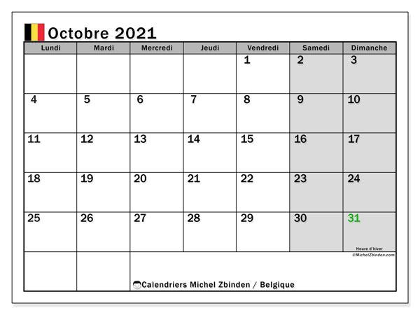 """Calendrier 2021 Octobre Calendrier """"Belgique"""" octobre 2021 à imprimer   Michel Zbinden FR"""