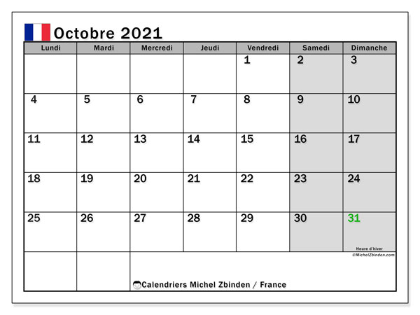 Calendrier octobre 2021, avec les jours fériés de la France. Calendrier Fêtes et jours fériés à imprimer gratuit.