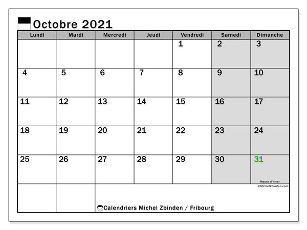 Calendrier octobre 2021, avec les jours fériés du Canton de Fribourg. Calendrier à imprimer gratuit avec jours fériés.