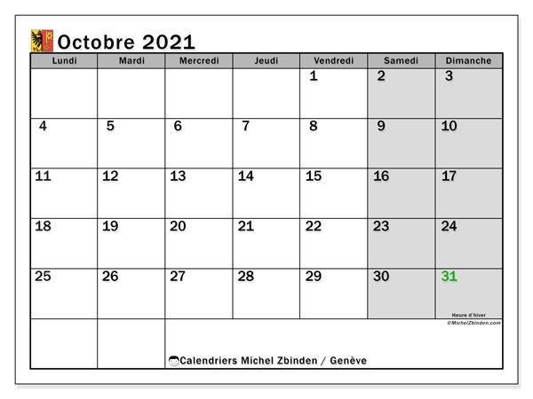 Calendrier octobre 2021, avec les jours fériés du Canton de Genève. Calendrier Fêtes et jours fériés à imprimer gratuit.