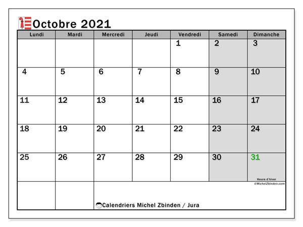 Calendrier octobre 2021, avec les jours fériés du Canton du Jura. Calendrier à imprimer gratuit avec jours fériés.