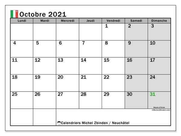 Calendrier octobre 2021, avec les jours fériés du Canton de Neuchâtel. Calendrier Fêtes et jours fériés à imprimer gratuit.