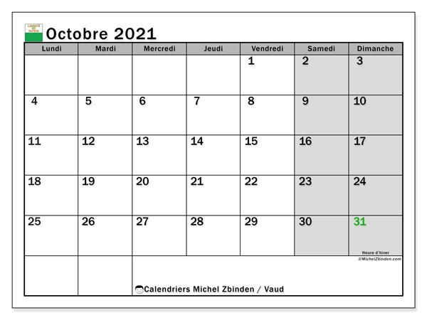 Calendrier octobre 2021, avec les jours fériés du Canton de Vaud. Calendrier à imprimer gratuit avec jours fériés.