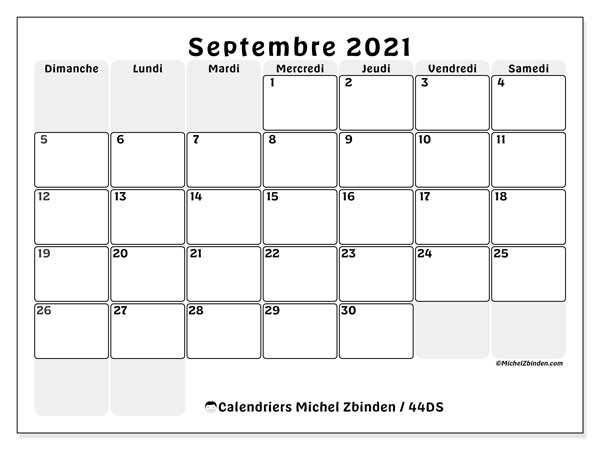 "Calendrier ""44DS"" septembre 2021 à imprimer   Michel Zbinden FR"