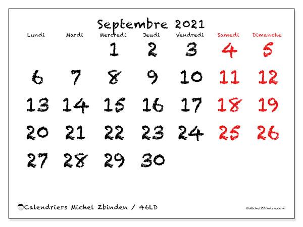 Calendrier septembre 2021, 46LD. Calendrier mensuel à imprimer gratuit.