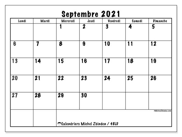"""Calendrier Septembre 2021 à Imprimer Gratuit Calendrier """"48LD"""" septembre 2021 à imprimer   Michel Zbinden FR"""
