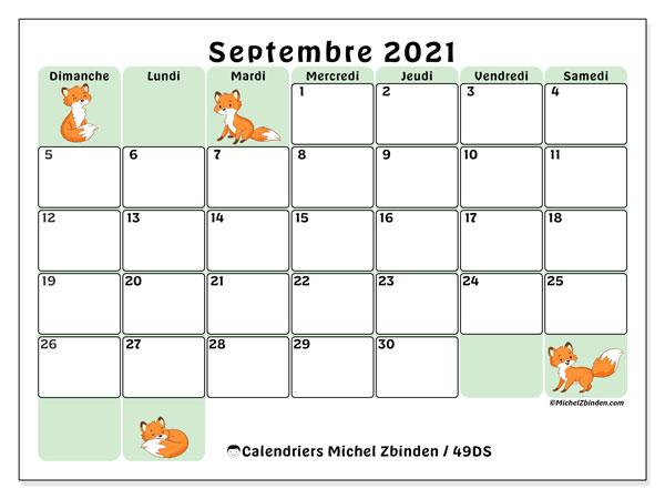 """Calendrier Septembre 2021 à Imprimer Gratuit Calendrier """"49DS"""" septembre 2021 à imprimer   Michel Zbinden FR"""
