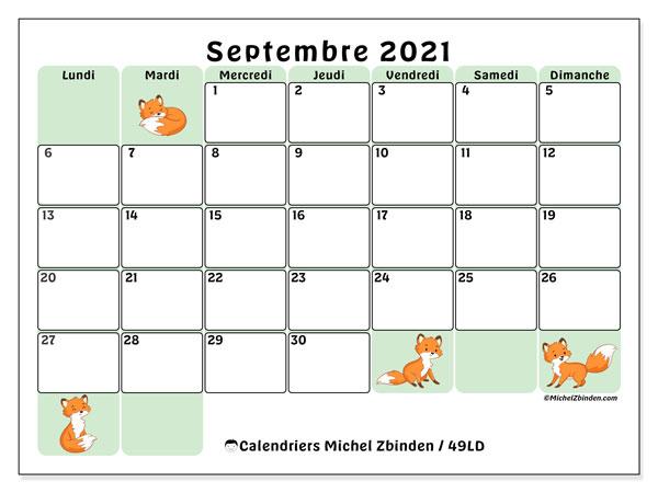 """Calendrier 2021 Mois Par Mois à Imprimer Calendrier """"49LD"""" septembre 2021 à imprimer   Michel Zbinden FR"""