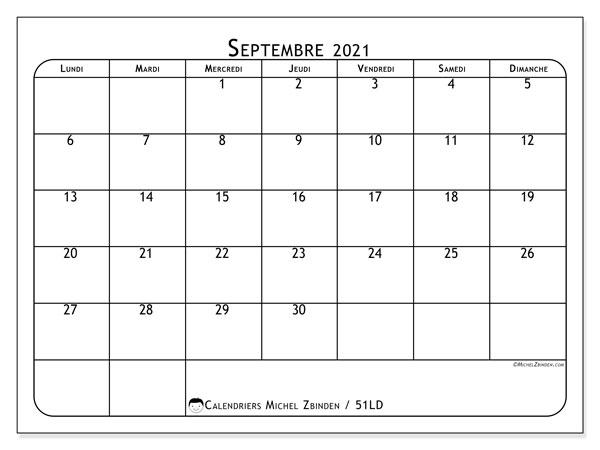 Calendrier septembre 2021, 51LD. Calendrier imprimable gratuit.