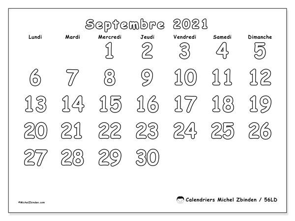 Calendrier septembre 2021, 56LD. Calendrier pour le mois à imprimer gratuit.