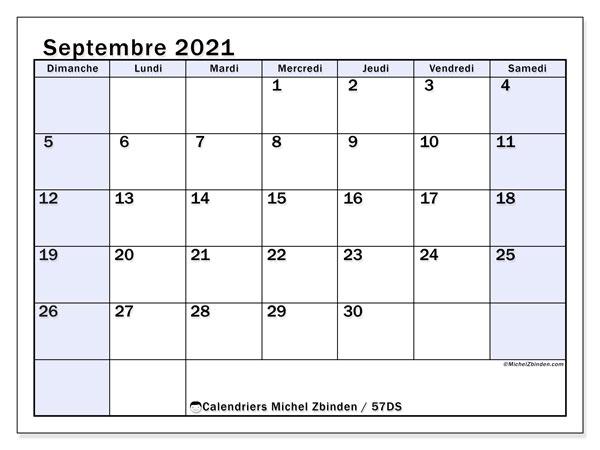 Calendrier septembre 2021, 57DS. Organisateur à imprimer gratuit.