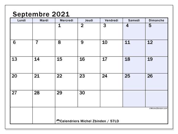 Calendrier septembre 2021, 57LD. Calendrier à imprimer gratuit.