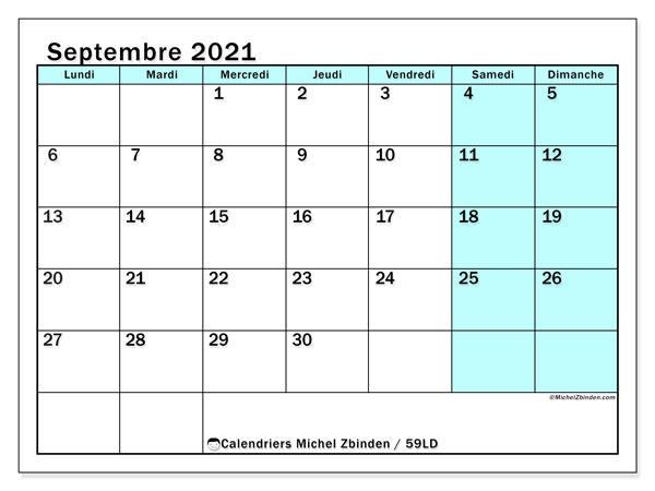 Calendrier septembre 2021, 59LD. Calendrier gratuit à imprimer.