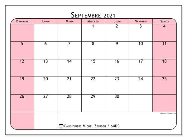 Calendrier septembre 2021, 64DS. Calendrier imprimable gratuit.