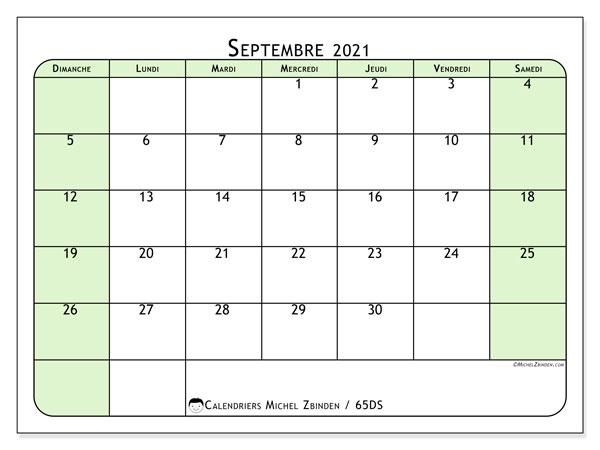 Calendrier septembre 2021, 65DS. Planificateur à imprimer gratuit.